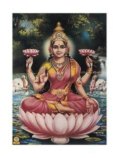 Art Print: Hindu Goddess Srhi Sentamarai Laximi, Wife of Vishnu : Hindus, Lakshmi Images, Lakshmi Photos, Shiva Photos, Saraswati Goddess, Indian Goddess, Goddess Art, Sri Yantra, Tanjore Painting