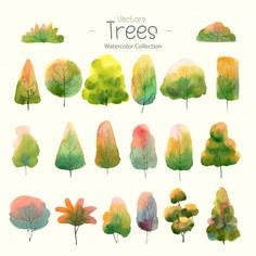 Set of watercolor trees for design fores. Forest Illustration, Plant Illustration, Watercolor Illustration, Watercolor Trees, Watercolor Paintings, Flower Watercolor, Bird Paintings, Indian Paintings, Watercolor Portraits