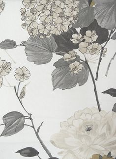 Penrose Cotton Fabric White cotton Fabric with semi sheen, integrating large traditional and contemporary floral design in Grey, Charcoal and mute gold.