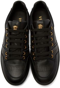 Versace Black Leather Perforated Sneakers