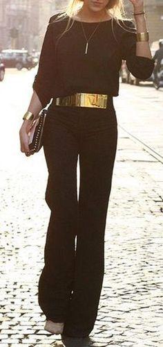 Elegant Women's Round Neck Black Jumpsuit
