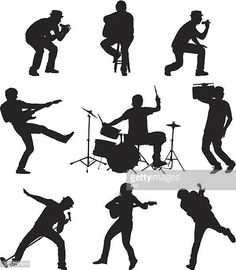 Arte vectorial : Rockers on stage playing music Music Bird, Gesture Drawing, Silhouette Art, Coastal Art, Pencil Art Drawings, Poses, Illustrations, Dance Music, Hair Designs