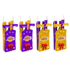 Los Angeles Lakers Sleigh Ornament 4 pack $12.99 http://www.fansedge.com/Los-Angeles-Lakers-Sleigh-Ornament-4-pack-_845863568_PD.html?social=pinterest_pfid23-37956