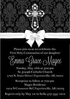 Diamond Cross First Communion Invitation #invitations #cross