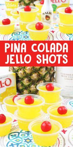 Pina Colada Jello Shots - Super Bowl Party just got a whole lot more fun! Pina Colada Jello Shots - Super Bowl Party just got a whole lot more fun! Jello Shot Cups, Jello Shot Recipes, Alcohol Drink Recipes, Jello Pudding Recipes, Super Bowl Party, Party Drinks, Fun Drinks, Cocktails, Alcoholic Beverages