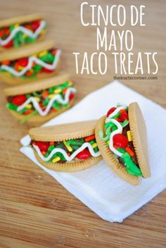 The Kurtz Corner: Cinco De Mayo - Cookie Taco Treats (mexican holiday foods) Taco Bar, Dragons Love Tacos Party, Taco Cupcakes, Mexican Cupcakes, Fiesta Baby Shower, Fiestas Party, Mexican Party, Holiday Treats, Holiday Foods