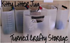 FREE storage bins for cat owners!  Turn those kitty litter jugs into a fantastic (free and green) way to store all sorts of stuff!