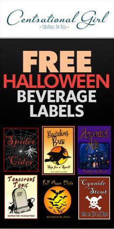#Free #Halloween Beverage Labels