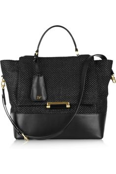 03ea762597 Diane von Furstenberg - Woven raffia and leather tote