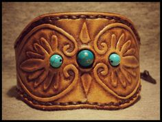 Tooled Leather Cuff Greek Design With Turquoise stone door SQUESH