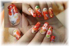 crane kimono nail art