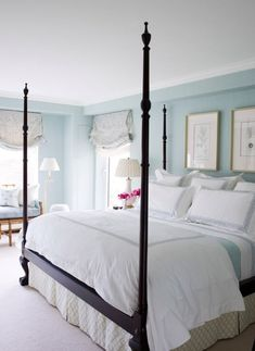 beautiful bedroom; blue paint