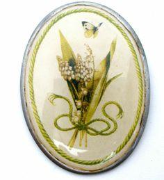 Bastin Flower Butterfly Pendant Brooch Signed Vintage Oval Green Pewter Pin | eBay