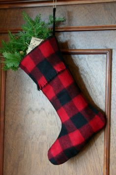 Red and Black Buffalo Check Christmas Stocking - Lumberjack - Preppy - Classic - Man's Stocking