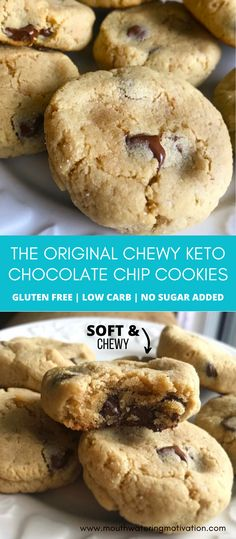 Keto Chocolate Chip Cookies, Low Carb Chocolate, Keto Cookies, Chocolate Desserts, Easy Gluten Free Desserts, Low Carb Desserts, Diabetic Recipes, Low Carb Recipes, Low Carb Cupcakes