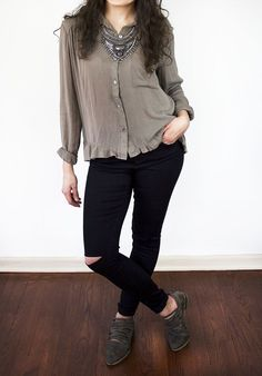 The Janey Button-Front Ruffle Blouse in Moss