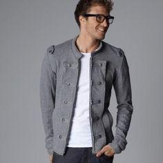 $53 Chaqueta estilo casaca corte slim (ceñido) de felpa - piezas hombros - SOFT GREY