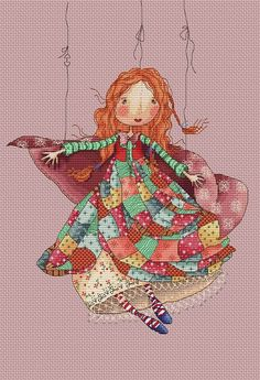 0 point de croix rousse en marionnette - cross stitch red girl as a muppet
