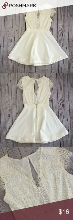 ✨NWT✨ Low- Cut V Neck Lace Top Dress NWT Size: Small Lace Top  Peekaboo Back Color: Ivory Charlotte Russe Dresses