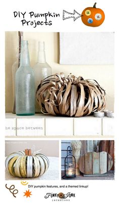 DIY Pumpkin Projects - features and a themed linkup via http://www.funkyjunkinteriors.net/ (find three pumpkin ideas from HOMEWARDfound in this linkup!)