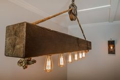 5 ft Rustic Beam Edison Bulb Chandelier with Vintage Barn Pulley Source by etsy Edison Bulb Chandelier, Edison Lampe, Edison Bulbs, Edison Lighting, Console Furniture, Rustic Furniture, Furniture Ideas, Interior Design Themes, Wood Grain Texture