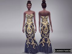 The Sims Resource: Long Dress Barroco by Laude Studio New Long Dress, Sims 4 Tsr, Strapless Dress Formal, Formal Dresses, Formal Looks, Unique Dresses, Looks Great, Glamour, Female