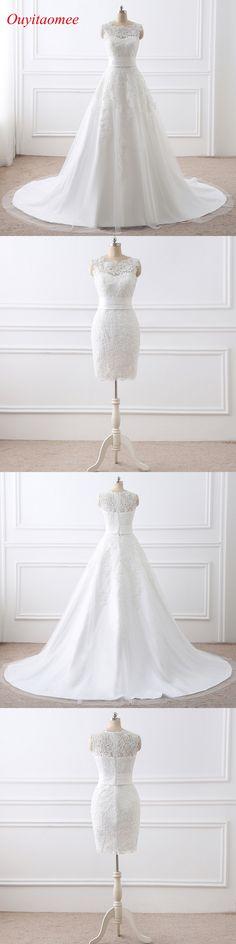 2018 New Detachable Train Wedding Dresses Scoop Neckline White A Line Two Pieces Bridal Dresses Lace Appliqued Wedding Gown