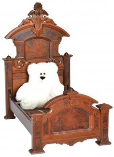 Great Renaissance Revival walnut Victorian doll's bed or possibly a salesman's sample.   Circa:1870