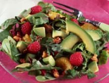 Raspberry Avocado Salad With Honey Raspberry Vinaigrette Recipe -Modify to fit YOUR LEAP Diet - Avo, lettuce (instead of spring mix which is a wide variety of some untested greens), orange, walnut (or other nut), onion, raspberry (try strawberry?), pepper, Dressing: Vinegar, oil, honey (sweetener), mustard (plain?), salt.