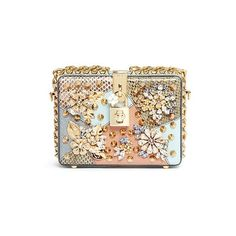 DOLCE GABBANA Jewelled snakeskin leather patchwork crossbody box... (€5.065) ❤ liked on Polyvore featuring bags, handbags, clutches, leather satchel bag, satchel handbags, leather satchel handbags, leather satchel and genuine leather handbags