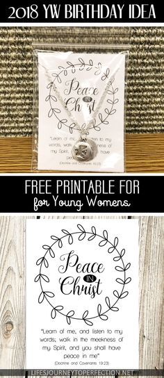 2018 Peace in Christ Young Women Birthday Idea