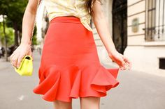 Orange coral godet skirt.