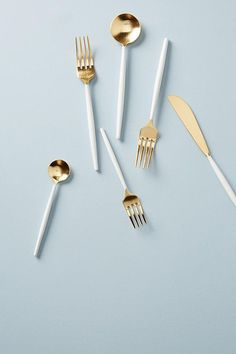 Cloud-Dipped Flatware by Anthropologie in Gold, Eat In Kitchen, Kitchen Dining, Kitchen Decor, Kitchen Stuff, Country Kitchen, Kitchen Sink, Kitchen Ideas, Dining Room, Gold Flatware