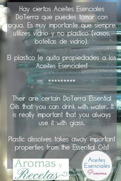 Dato muy importante!* Los Aceites Esenciales no se pueden diluir en botellas plásticas! Pierden sus propiedades, siempre usen botellas de vidrio! www.aromasyreceta... #doterra #vidrio #aceiteesencial #consultora #tip #botellavidrio