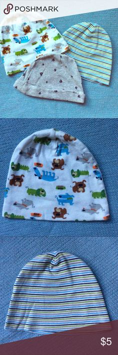 3pc Baby Boy Beanie lot 0-6 months Excellent used condition Tiny stain in grey beanie (pictured) otherwise immaculate  100% cotton Accessories Hats