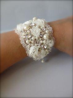 Wedding Cuff Bracelet ~ Victorian Wide Cuff  Bracelet, FALL 2013, Bridal Bracelet, Wedding Jewelry and Fine Handcrafted Bracelets on Etsy, $78.00