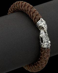 "Scott Kay Men's ""Fine Leather"" Silver Braided Leather Bracelet | www.goldcasters.com"