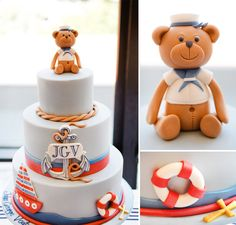 If you're looking for some stylish nautical party inspiration - this beautiful NAUTICAL Christening event by Australian-based Marabous is Nautical Cake, Nautical Party, Fondant Cakes, Cupcake Cakes, Party Fiesta, Party Party, Party Ideas, Bear Cakes, Cakes For Boys