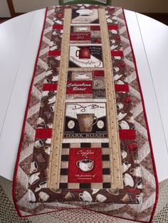 Coffee Theme Table Runner 13x72 Cotton Blend Cups Rn 115972 New Ebay Pinterest Espresso And