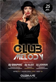 Club Melody Free Party Flyer Template for House and Electro Parties Free Psd Flyer Templates, Flyer Free, Party Poster, Party Flyer, Special Guest, Dj Edm, Photoshop, Gd, Places