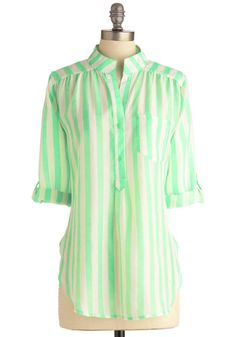 New Apartmint Top - Long, Stripes, Buttons, Pockets, Casual, Green, White, 3/4 Sleeve, Spring