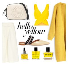 """Sunny day"" by veureka on Polyvore featuring Apiece Apart, Chicwish, Malone Souliers, Gucci, Rodin, Natura Bissé, PopsOfYellow and NYFWYellow"