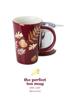 Stay cozy with this pretty mug, adorned with gold and wood grain leaves.