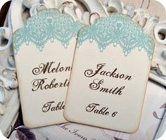 Personalized Vintage Inspired Lace Escort Tag Cards - Wedding / Bridal Shower / Baby - Rustic - Set of 25