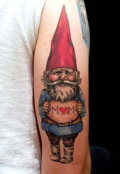 Tattoo inspiration. This gnome, riding a dinosaur... :)