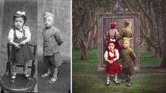 Artist transforms historic glass-plate photos into lively & slightly surreal work of art
