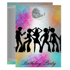 Shop Dance Disco Birthday Party psychodelic invitation created by invitesnow. Retro Birthday Parties, Dance Party Birthday, Surprise Birthday, 60th Birthday Invitations, Bachelorette Party Invitations, Disco Party, Disco Disco, Disco Ball, Vintage Party