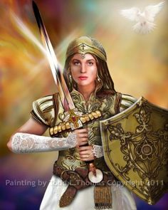 Warrior Bride Of Christ (Painting),  24x30 in by Todd L Thomas Warrior Bride Of Christ, equipped and prepared for battle.    Original is $1950 purchased from the artist directly. Giclee prints are also available ... Contact Mr. Thomas at    Painting by Todd L Thomas Copyright Secured