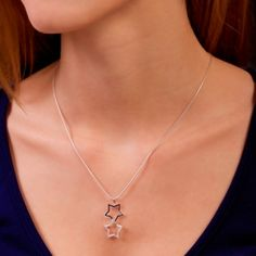 Two stars – one loosely hanging over the other. Sterling Silver Pendants, Stars, Jewelry, Products, Jewlery, Jewerly, Schmuck, Sterne, Jewels
