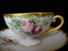 Most Delicate VICTORIAN ROSES & GOLD Pedestal Demitasse Cup & Saucer
